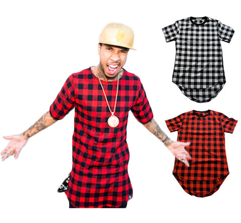 Superior Plaid Zip Sided Long Tee