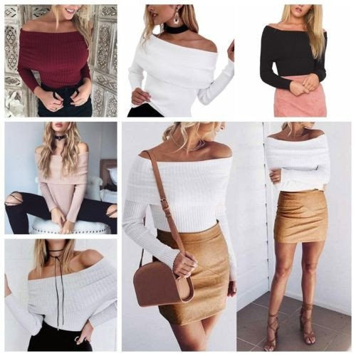 Long Sleeve Off Shoulder Knitted Shirt