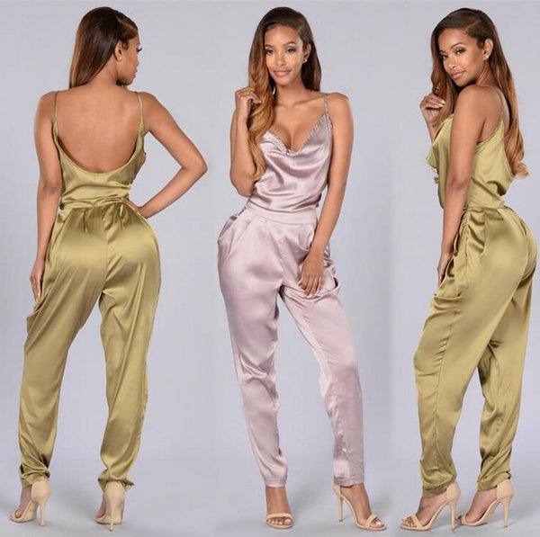 Satin Backless Jumpsuit Romper