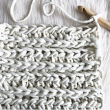 white crochet xxl plump and co yarn, made in nz with merino wool to make bespoke chunky blankets