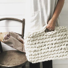 Forever Farmhouse using Plump & Co chunky yarn crafted ethically in nz using merino wool to make xxl hand made blankets, scarfs and wall hangings with our giant needles and crochet hooks