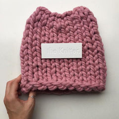 XXL pink yarn made in New Zealand with ethically produced Merino wool, chunky knit pink beanie designed and made by The Knitter