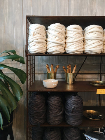 plump and co giant yarn at ponsonby pop up store to make giant blankets using wool from new zealand and giant needles and crochet hooks made here in nz