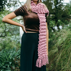 giant chunky woolen yarn pink scarf made in new zealand using merino sheep wool with xxl knitting needles with added tassels