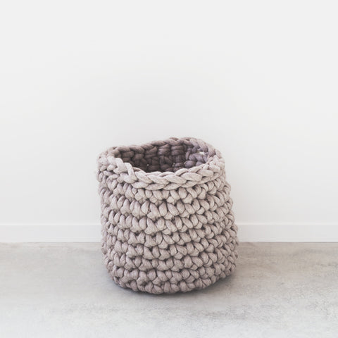 Chunky crocheted medium laundry hamper using our plumptious ethically-sourced New Zealand merino wool.