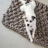 Knit a cosy mat for your fur baby using Plump & Co pure wool chunky yarn