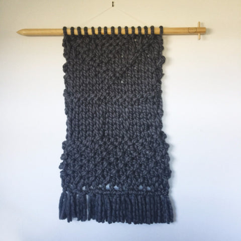 Knit your own weave wall hanging using Plump & Co merino yarn