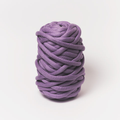 Plump & Co's giant yarn in purple 1 ply. Use our plumptious XXL New Zealand merino wool with our giant knitting needles or extreme crochet hooks to make your own chunky knit blanket or throw. Perfect for arm knitting. Worldwide shipping, free shipping to New Zealand and Australia!