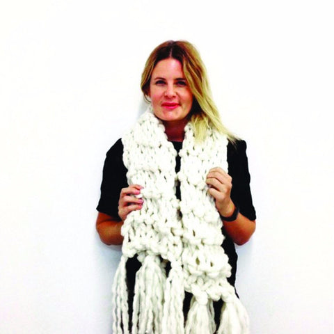 Knit your own beautiful chunky yarn scarf to keep you warm this winter