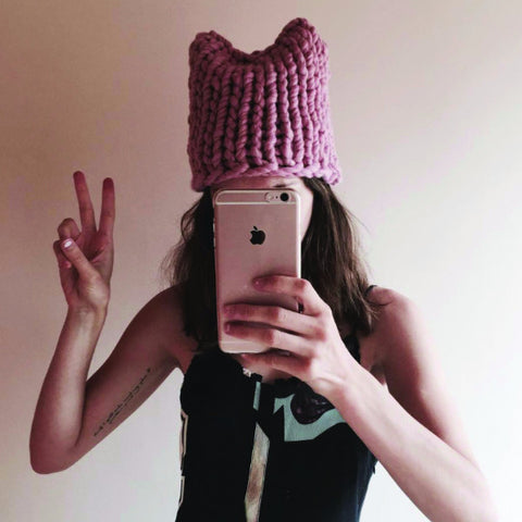 Plump & Co pussy hat by the Knitter