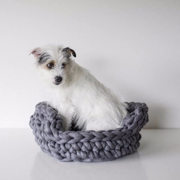 Crochet a chunky yarn basket for your pet using Plump & Co XXL yarn
