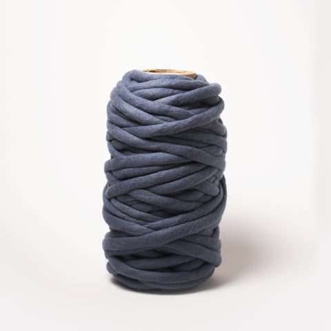 Plump & Co's giant yarn in Blue Berry 1 ply. Use our plumptious XXL New Zealand merino wool with our giant knitting needles or extreme crochet hooks to make your own chunky knit blanket or throw. Perfect for arm knitting. Worldwide shipping, free shipping to New Zealand and Australia!