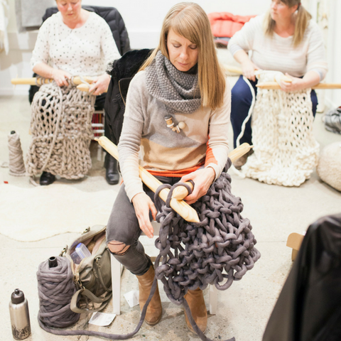 Learn to knit using giant yarn and XXL knitting needles at Plump & Co giant knitting workshops. Plump & Co workshops available nationwide in New Zealand, Australia, USA and more.