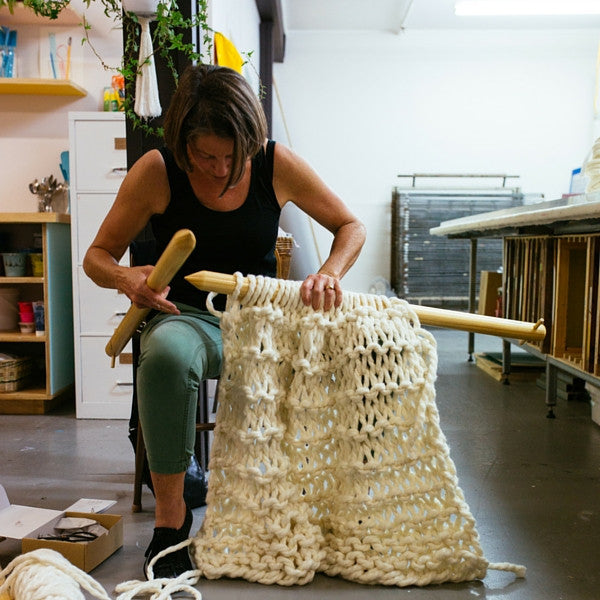 The Neighbourhood Studio X Plump & Co Extreme knitting workshop Wellington, come along and learn how to extreme knitting with Plump & Co's chunky giant wool merino yarn and huge giant knitting needles! Touring nationwide to New Zealand and Australia.