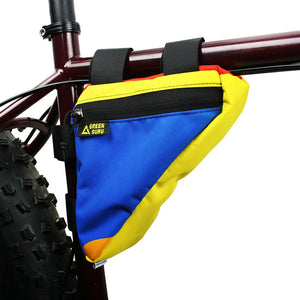 gripster frame bag multicolor attached to frame in use eco friendly green guru