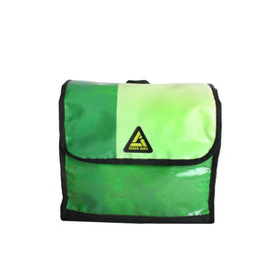 green guru dutchy pannier bike bag upcycled front view made of recycled event banners