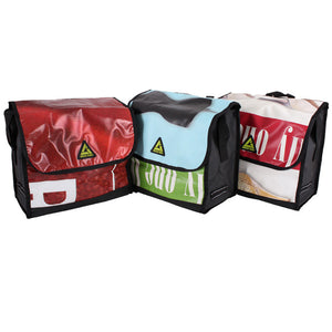 green guru dutchy pannier bike bag upcycled various colorful colorways