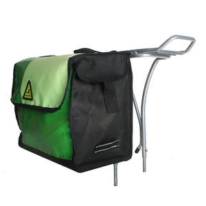 green guru dutchy pannier bike bag upcycled mounted on rear rack