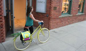 green guru dutch dutchy pannier bag in use city