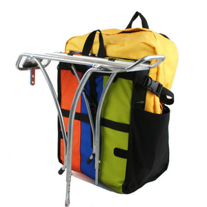Freerider Pannier Bike Bags Multi-color reclaimed fabric upcycled vegan recycled made in usa loaded rear view on rack