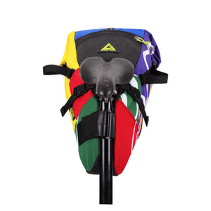 Hauler bike saddle bag green guru gear upcycled bikepacking multi-color recycled made in usa