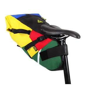 Hauler bike saddle bag green guru gear upcycled bikepacking recycled vegan eco-friendly