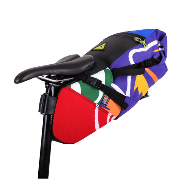 Hauler bike saddle bag green guru gear upcycled bikepacking