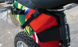 Hauler bike saddle bag green guru gear upcycled bikepacking adventure lifestyle around town eco