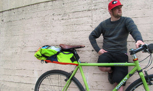 Hauler bike saddle bag green guru gear upcycled bikepacking lifestyle
