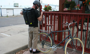 pannier backpack convertible bike bag made in USA from upcycled bike tubes by green guru
