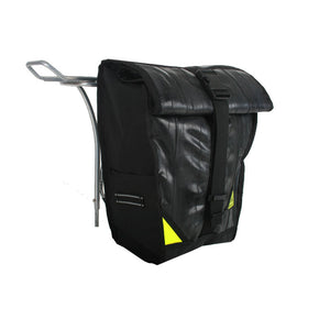 pannier backpack convertible bike bag made in USA from upcycled bike tubes by green guru attached to rear rack