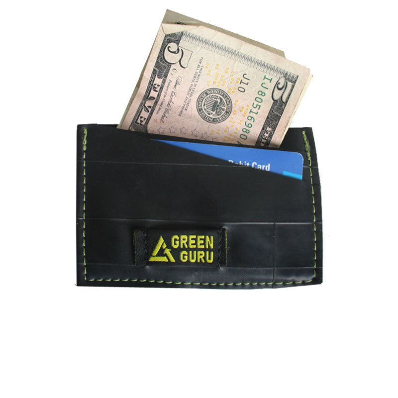 wallet made from recycled materials in usa id window holding money