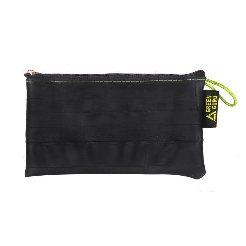 mid-size zipper pouch green guru upcycled filled with bike tools