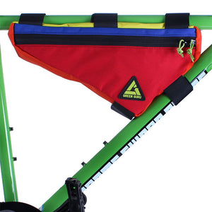 upshift frame bag colorful large multi-color green guru attached to frame recycled upcycled eco