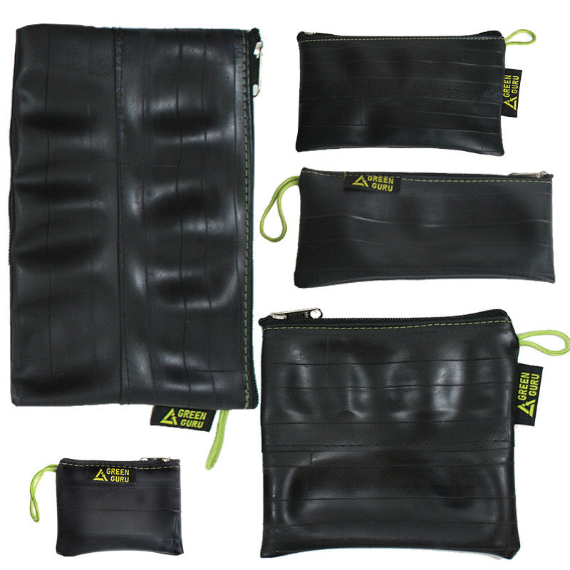 green guru zipper pouches package made from upcycled bike tubes