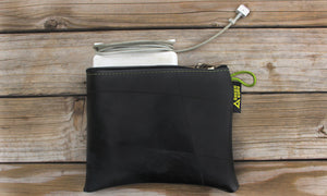 large zipper pouch sustainably made in usa lifestyle holding computer charger green guru gear