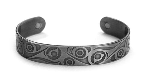 Brushed Silver Bracelet - Hummingbirds by T.J. Young