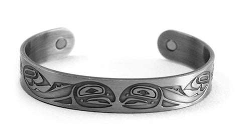 Brushed Silver Bracelet - Salmon by Paul Windsor