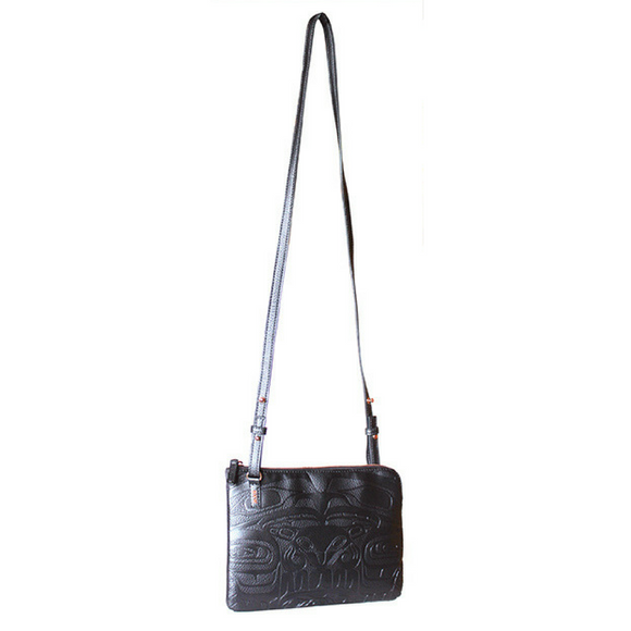 Embossed Fashion Bag - Thunderbird and Whale (Black) by Ernest Swanson