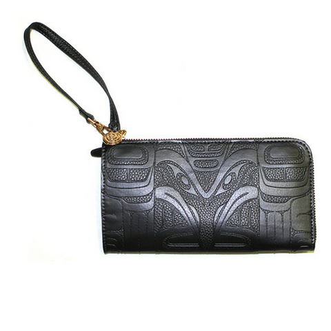 Embossed Fashion Clutch - Thunderbird and Whale (Black) by Ernest Swanson