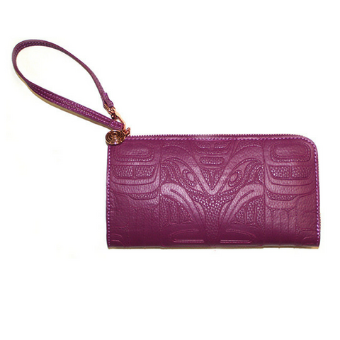 Embossed Fashion Clutch - Thunderbird and Whale (Purple) by Ernest Swanson
