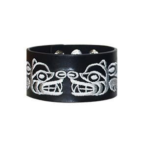 Embroidered Leather Cuff - Bear by Maynard Johnny Jr.
