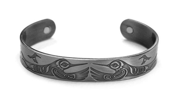 Brushed Silver Bracelet - Hummingbirds by Paul Windsor