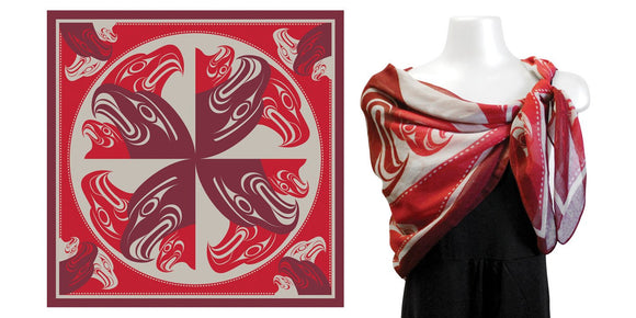 Square Scarf-Eagle Circle by Francis Horne Sr.