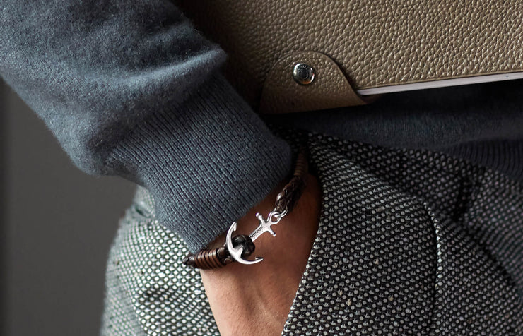 Tom Hope Havana Brown leather anchor bracelet