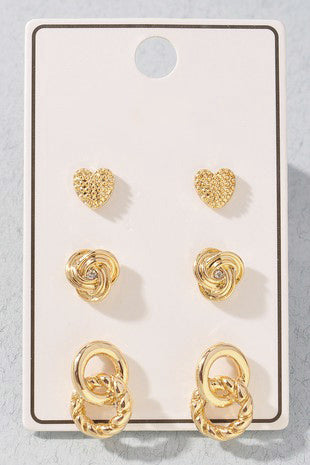 Love Knot Stud Earring Set
