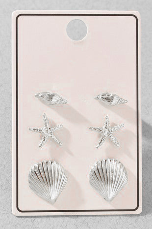 Sea Life Stud Earring Set