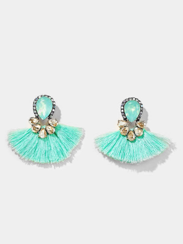 Blue Wave Tassel Earrings