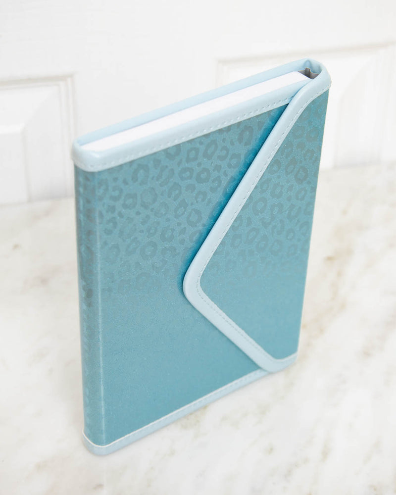 Icy Blue Leopard Envelope Journal