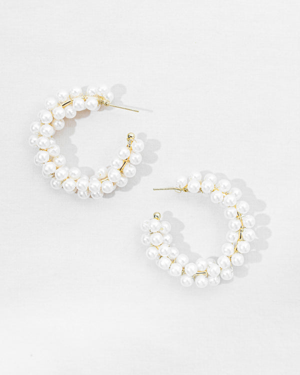 Coline Pearl Hoop Earrings